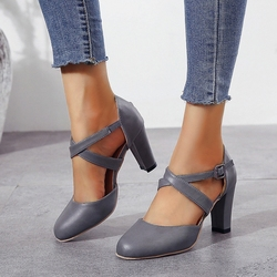 Elegant Cross-tied 8 cm Pumps Thick High Heeled Women Spring Shoes Blue Black Gray Leather Nurse Work Shoes Single Heels Size 41