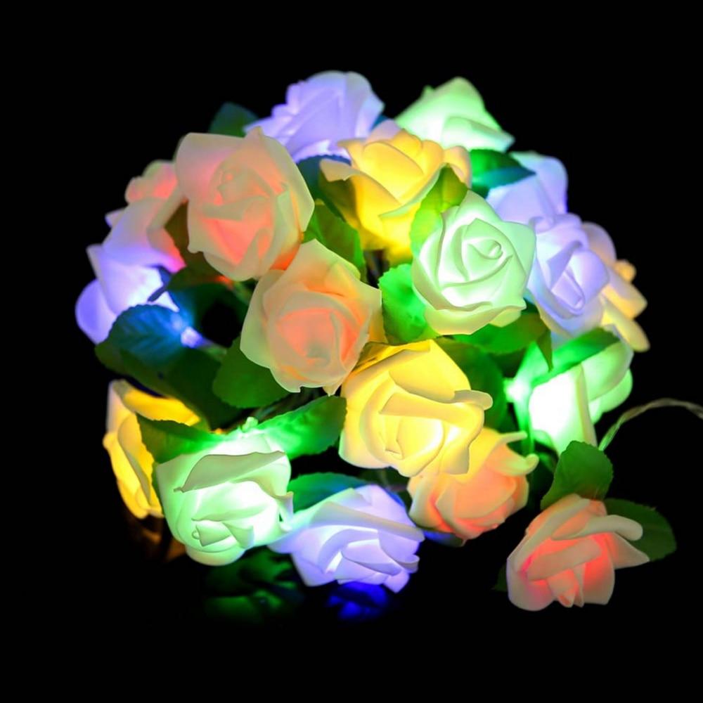2M 20 LED Rose Flower String Light Fairy LED String Battery Powered Wedding Party Balentine's Day Gardland Home Decoration