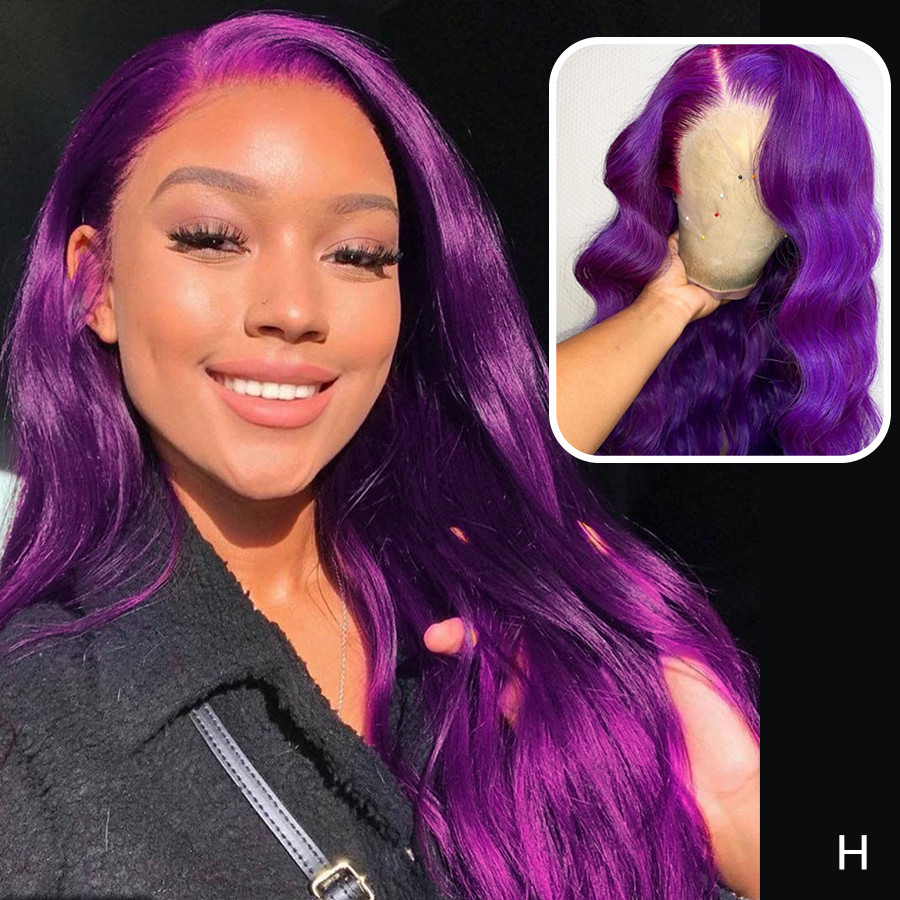 Brazilian Remy Transparent Lace Wig Purple Colored Human Hair Wigs Body Wave Lace Front Human Hair Wigs For Women Pre Plucked