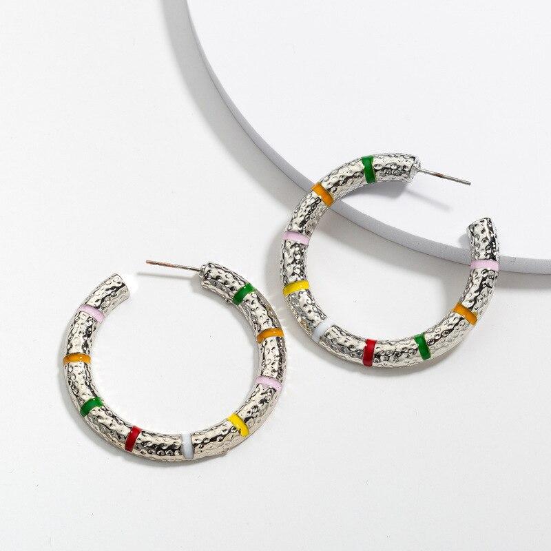 3Color Fashion Earrings Color Metal Cool Earrings Simple Punk Style Earrings Women's Jewelry