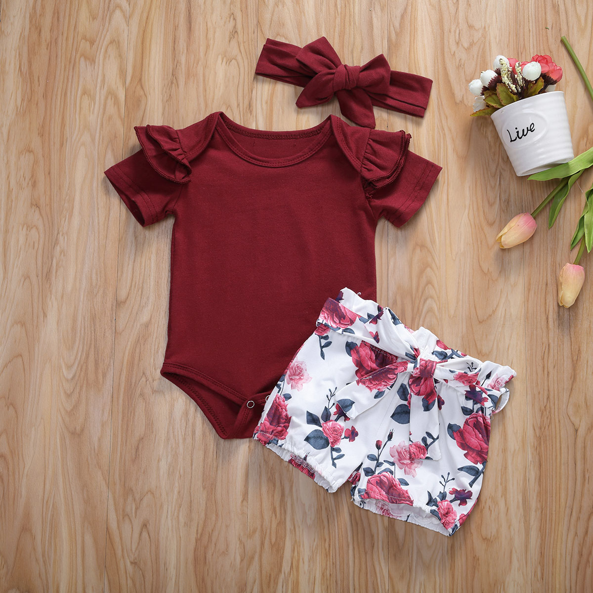 Pudcoco Newborn Baby Girl Clothes Solid Color Short Sleeve Knitted Cotton Romper Tops Flower Print Shorts Headband 3Pcs Outfits