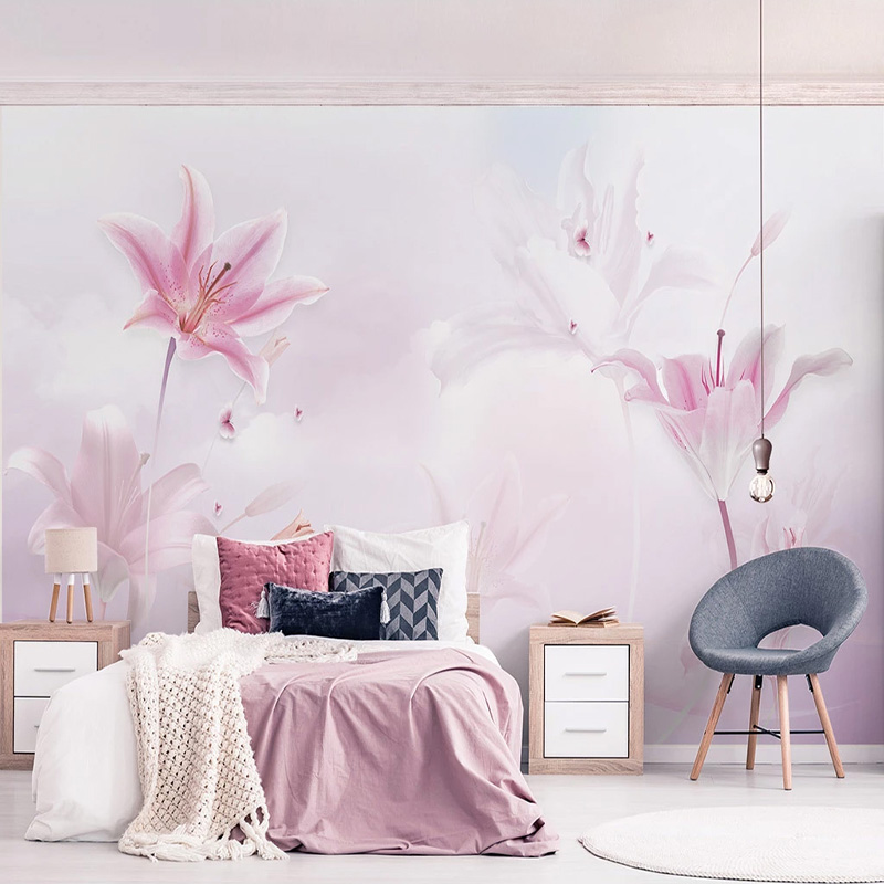 Custom 3D Wallpaper Modern Simple Pink Lily Clouds Wall Painting Living Room Wedding House Romantic Background Wall Decor Fresco