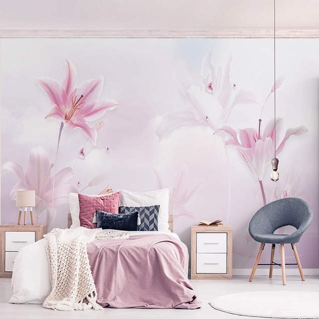 Custom 3d Wallpaper Modern Simple Pink Lily Clouds Wall Painting