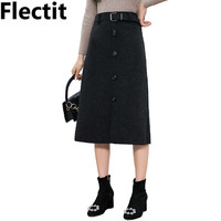 Flectit Women Front Button Belted Midi Skirt Warm Thick Wool Fall Winter Skirts Outfits *