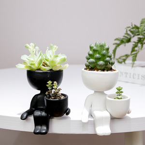 Character Portrait Flower Pot Resin Succulents Plant Pot Abstract Human Flower Pot Home Desktop Vase Micro Landscape Decor(China)