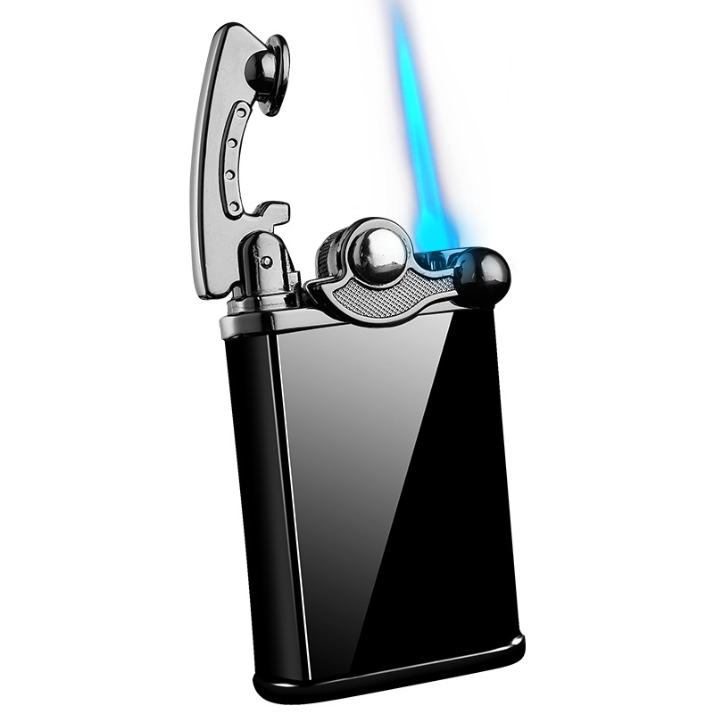 Vintage Metal Gas Blue Flame Torch Turbo Lighter Electronic Lighter gas Lighter 1300C Butane Cigar Cigarette Lighters Men Cigarette Accessories     - title=