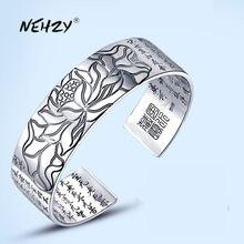 NEHZY – bracelet rétro en argent sterling 925 pour homme et femme, bijoux à la mode, sculpture de lotus, écriture bouddhiste, bénédiction, langue