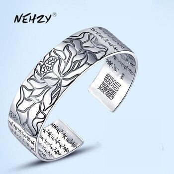 Nueva joyería de plata de ley 925 NEHZY para hombre, joyería de moda retro con grabado de loto, escritura budista, bendición, pulsera de idioma