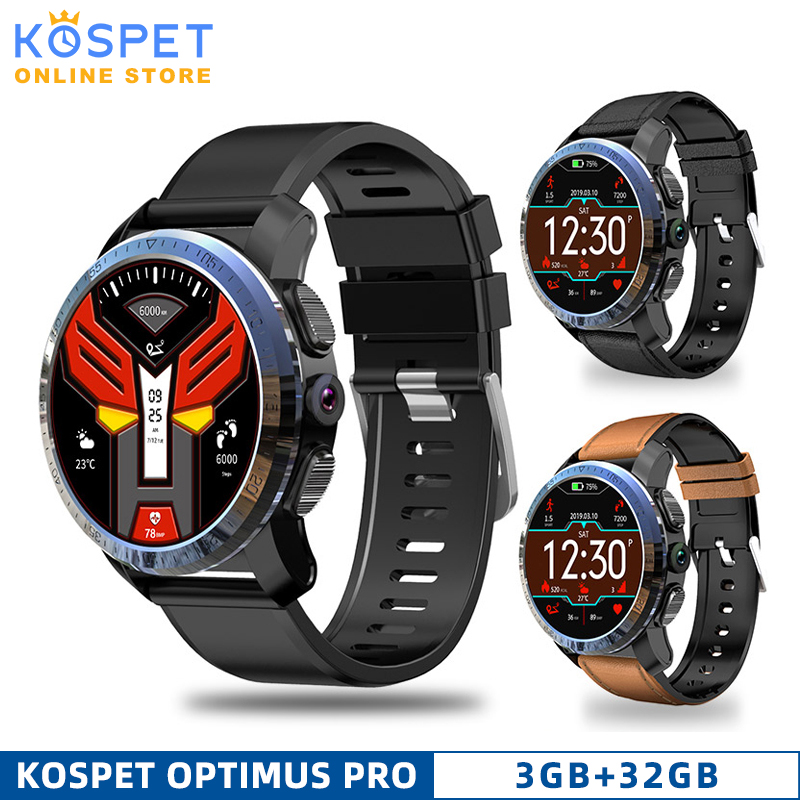 KOSPET Optimus Pro 3GB 32GB Smartwatch 8.0MP 800mAh IP67 waterproof GPS Dual System Call4G Men Smart Watch Phone For IOS Android