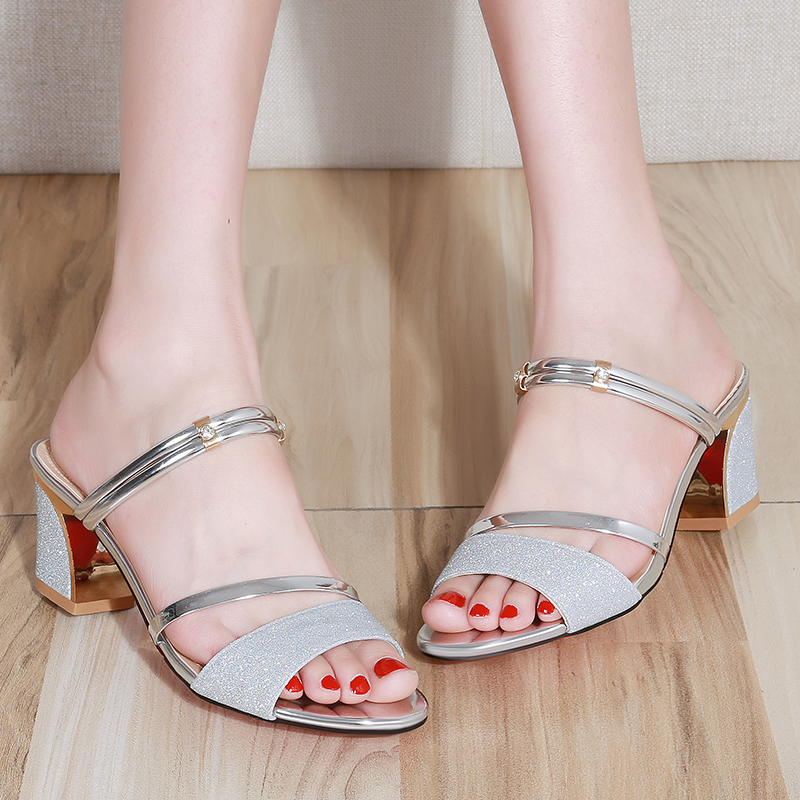 Lucyever Women Sandals Fashion Bling Square High Heel Summer Slippers Women Sexy Open Toe Sandals for Woman Flip Flops Slides