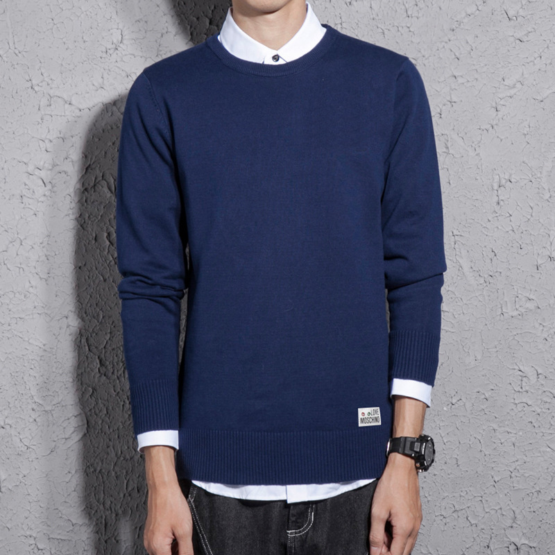 Spring And Autumn New Men's Cotton Sweater Men's Slim Sweater Solid Color Round Neck Sweater Men