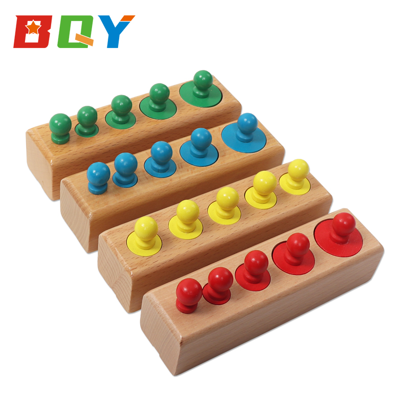 BQY Montessori Materials Knobbed Cylinder Blocks Socket Toys Kids Early Development Sensorial Socket Wooden Toys
