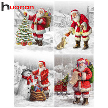 Huacan Diamond Painting Kit Christmas Diamond Art Full Drill Mosaic Santa Claus Embroidery Cross Stitch Snowman Home Decor