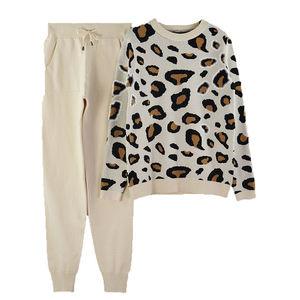 Image 5 - MVGIRLRU Autumn and Winter Women Suits Leopard  Knitted O Collor Pullover Sweater and Pants Two Piece Set