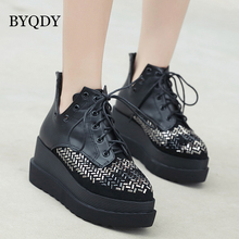BYQDY Autumn Winter Increasing Height Boots Woman High Heel Platform PU Leather Lace up Ankle Girlfriend Shoes Black