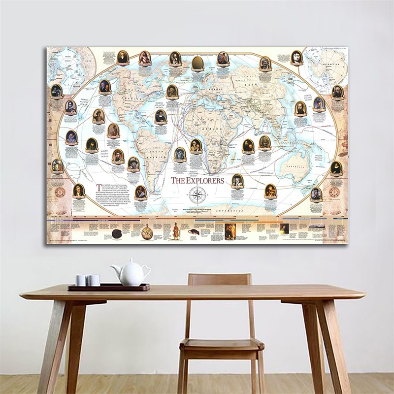 150x100cm World Map Wall Decor Famous Navigator And Explorer Navigation Map Non-woven World Map By National Geographic Society