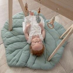 1 шт., детский игровой коврик, Скандинавское Хлопковое одеяло с листьями, мягкие коврики, ползающий ребенок, одеяло, Мультяшные детские игров...