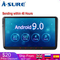 A-Sure 2 Din 9 Inch Android 9.0 Car Radio GPS For Volkswagen VW Tiguan Polo Golf 5 6 Passat b6 Caddy Transporter T5 Touran Skoda