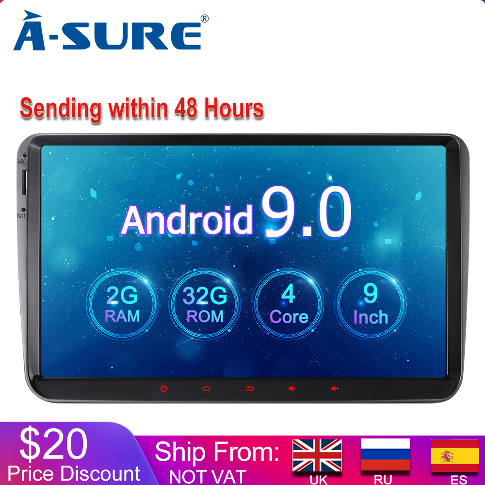 A-Sure <font><b>2</b></font> <font><b>Din</b></font> 9 Inch Android 9.0 Car Radio GPS For Volkswagen <font><b>VW</b></font> Tiguan Polo <font><b>Golf</b></font> 5 <font><b>6</b></font> Passat b6 Caddy Transporter T5 Touran Skoda image