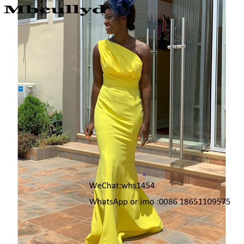 Mbcullyd Sexy One Shoulder Long Bridesmaid Dresses 2020 Bright Yellow Mermaid Wedding Guest Dress Formal Satin Vestido De Festa
