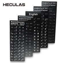 Russe français anglais arabe espagnol portugais hébreu clavier autocollants lettre Alphabet mise en page autocollant pour ordinateur portable ordinateur de bureau