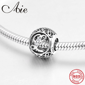 Hot authentic 925 Sterling Silver hollow out Letter L fashion Clear CZ fine beads Fit Original Pandora Charms Bracelets making