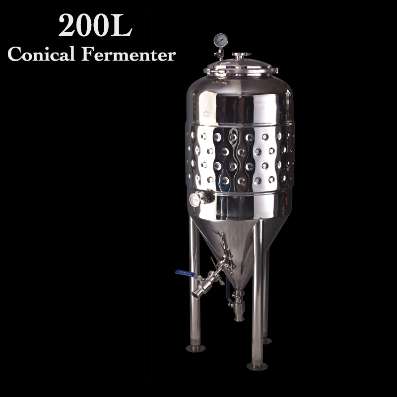 200L Double Wall  2 Bar Brew Conical Beer Fermentation Tanks Micro Brewery Fermentation Tank. Wine Fermenter Stainless Steel 304