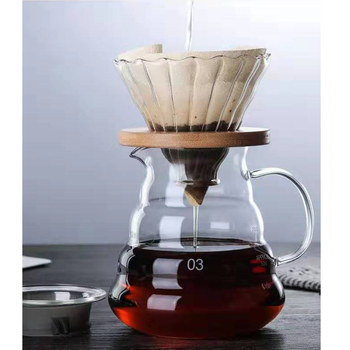 Cloud Wood Bracket Glass Reusable Filter 800ml / 600ml / 360ml Coffee Dripper and Pot Set for Hario Style V60 Filter