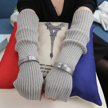 Fashion Women Opera Long Gloves Knitting Arm Warmers Female Solid Thicker Fingerless Winter Gloves flouncing knit fingerless arm warmers