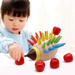 Blocos de madeira Brinquedos DIY Bloco de Construção Magnética Colorido Ouriço Brinquedo Inserido Crianças Da Primeira Infância Educação Multi-cor do miúdo