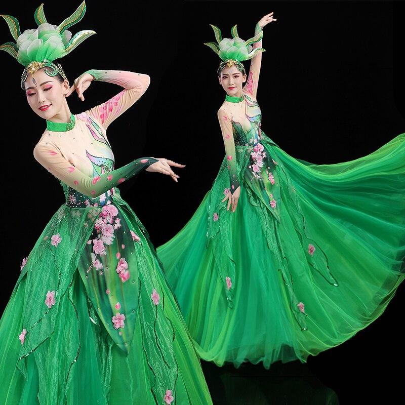Flamenco Dress Women Classical Dance Costume Concert Outfits Long Dress Performance Costume Green Ballroom Dance Wear DL7409