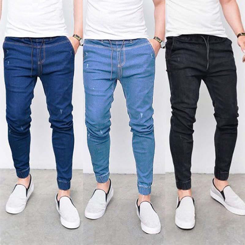 E-BAIHUI New Harem Jeans Men Casual Washed Shinny Denim Jeans Male Fashion Ripped Hip Hop Sportswear Pencil Pants Plus Size 5XL