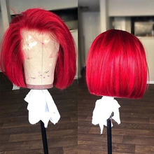 Wigs Short Human-Hair T-Part Lace Straight Red-Color 613 Pre-Plucked Brazilian Bob-Cut