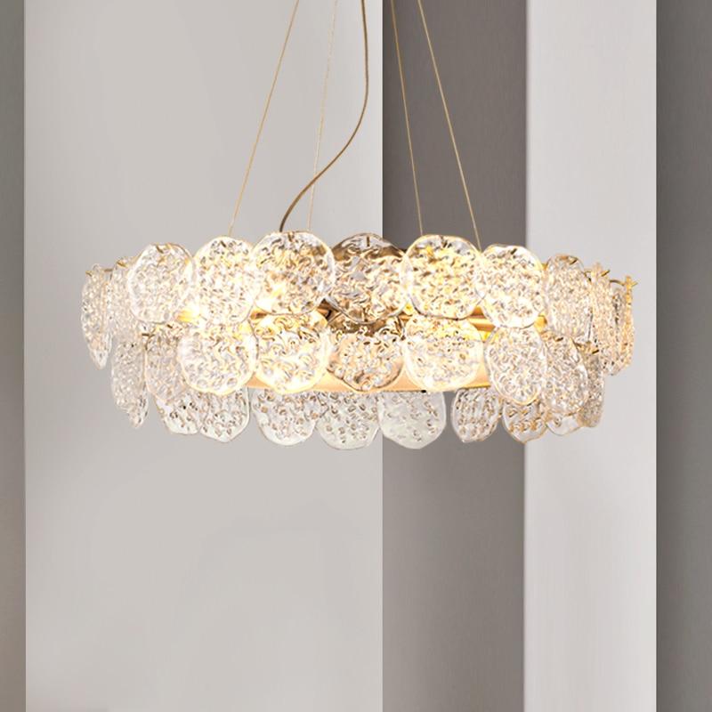Lustre en cristal de verre moderne lampe décorative en verre fait main lampe de salon de luxe