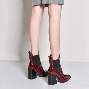 Image 4 - Fedonas feminino novo tamanho grande chelsea botas de salto alto festa sapatos de dança mulher qualidade couro genuíno botas tornozelo quente