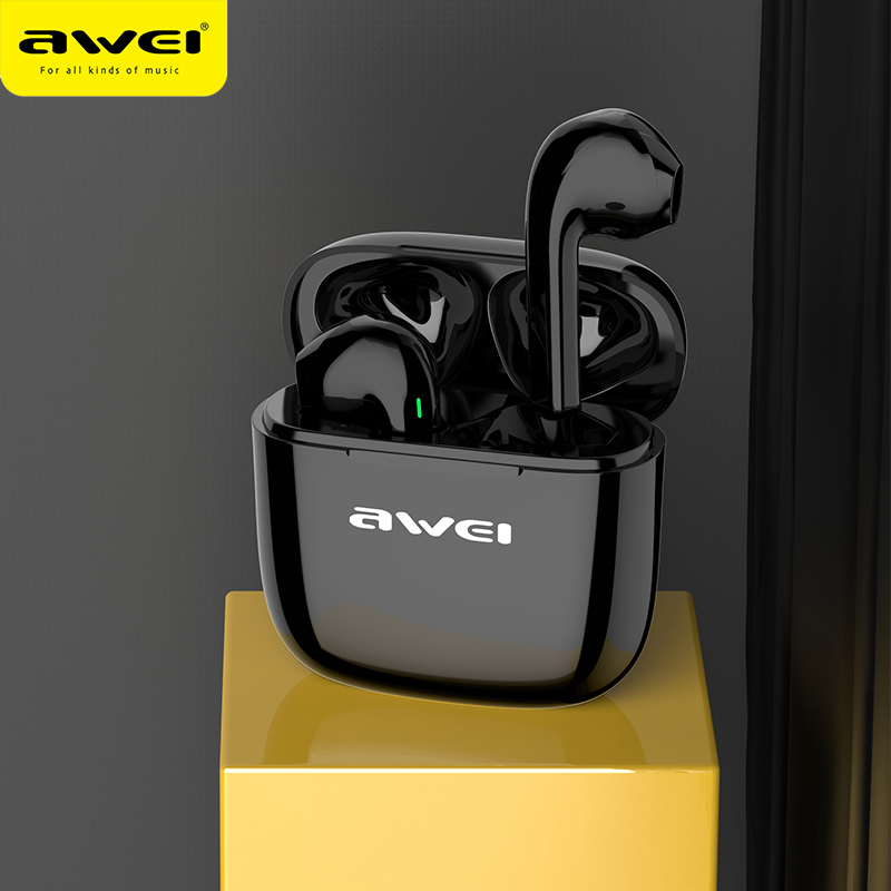 AWEI T26 TWS Earbuds Led Display Wireless Earphones Touch With Microphone Gaming Headset Noise Cancelling  For IOS Andriod