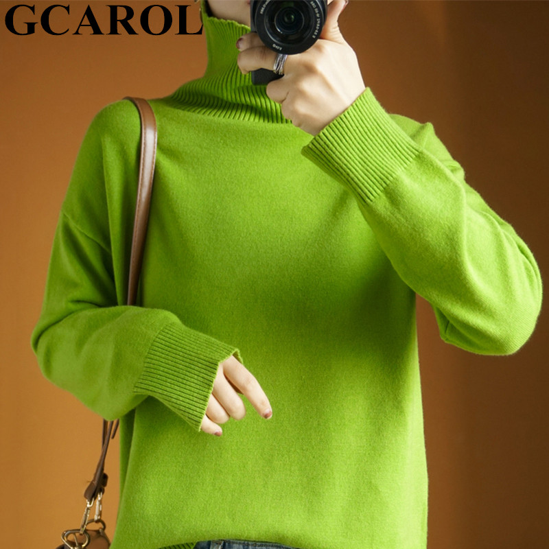 GCAROL Women Cashmere Turtleneck Sweater 30% Wool Thick Minimalist OL Jersey Warm Casual Oversize Knit Jumper Pullover