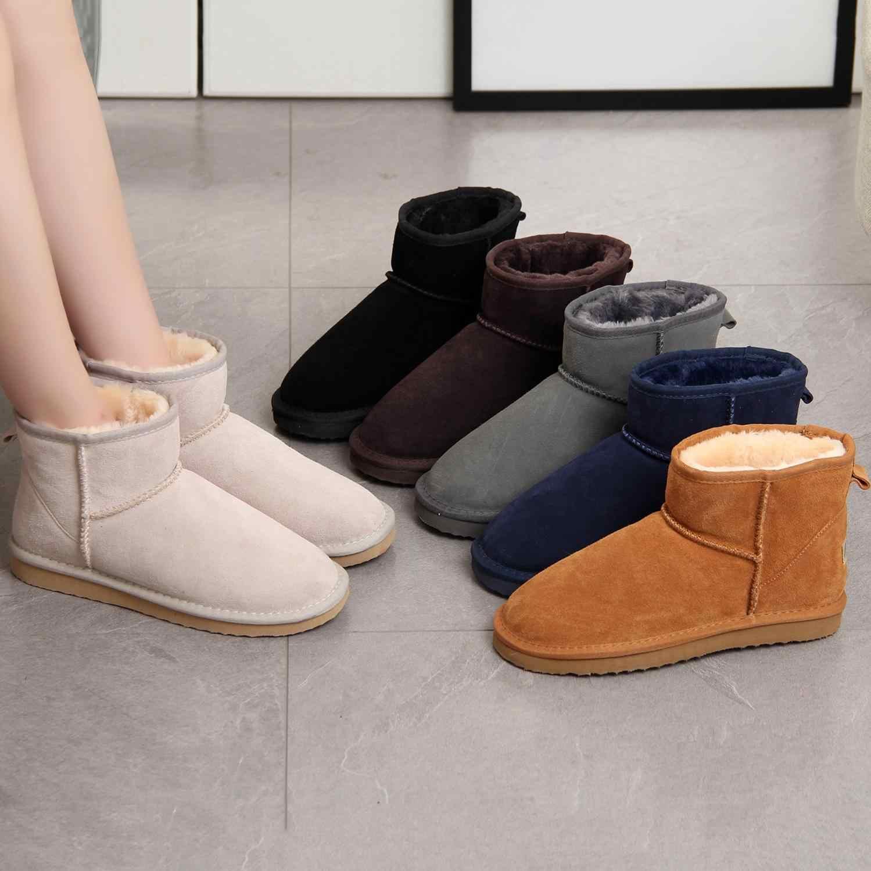 HABUCKN thời trang Da Thật Chính Hãng Da Lông Thú Ủng Nữ Top Chất Lượng Cao Úc Giày Mùa Đông Giày cho Nữ Ấm Áp kích thước lớn 44