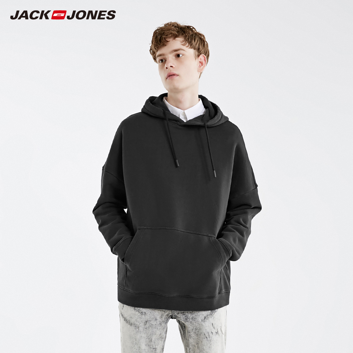 JackJones Men's Winter Loose Fit Drop-shoulder Hoodie Basic Menswear| 219133520
