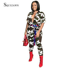 Camouflage Front Button Jumpsuit Women Autum 2019 Streetwear O-Neck Rompers Bodycon Overalls For Womens Jumpsuit Plus Size 2XL(China)