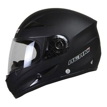 NENKI  Black Motorcycle Helmet Men Motocross Helmet Full Face Moto Retro Scooter Helmets Motorbike Riding Helmet Casco Moto