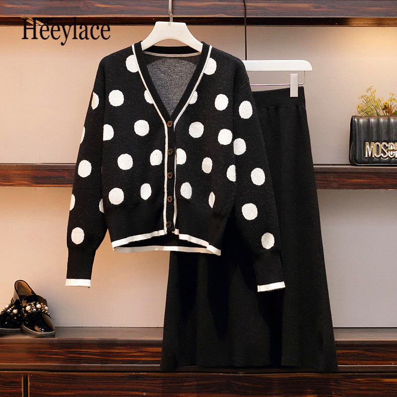 5XL Plus Size Women Sweater Skirt Suit Autumn 2 Piece Suits Polka Dot Single-breasted Knit Cardigan Hight Waist Solid Skirt Set