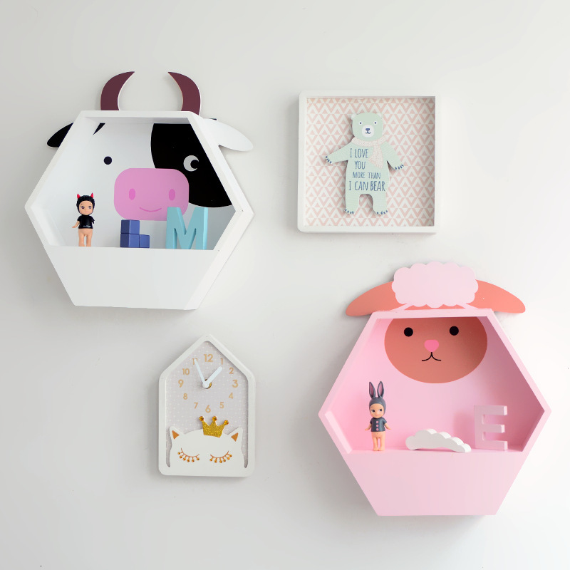 Japan Style Cute Cat Pig Sheep Cow Shelving Living Room Display Stand Book Shelf Wall Rack Cupboard Kids Baby Room Decor Gift