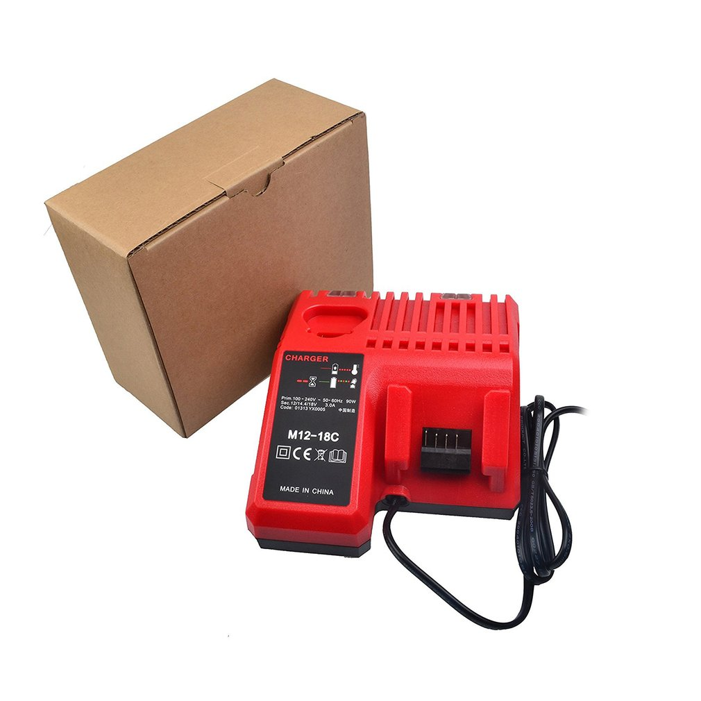 Replacement Charger 110-240V Li-ion Battery Charger Milwaukee M12-M18C 48-11-1815 48-11-1828 48-11-2401 48-11-2402 EU/UK/US/AU