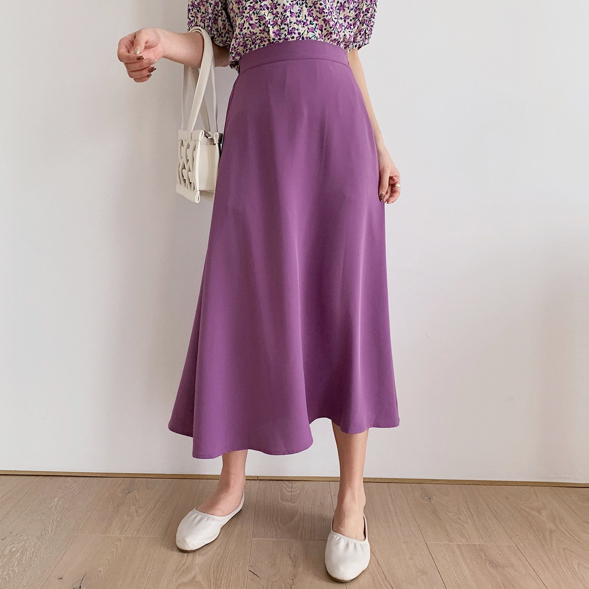 Sherhure 2020 Women High Waist Back Stretch Women Long Skirt A-Line Pure Color Faldas Jupe Femme Saia Women Summer Skirts