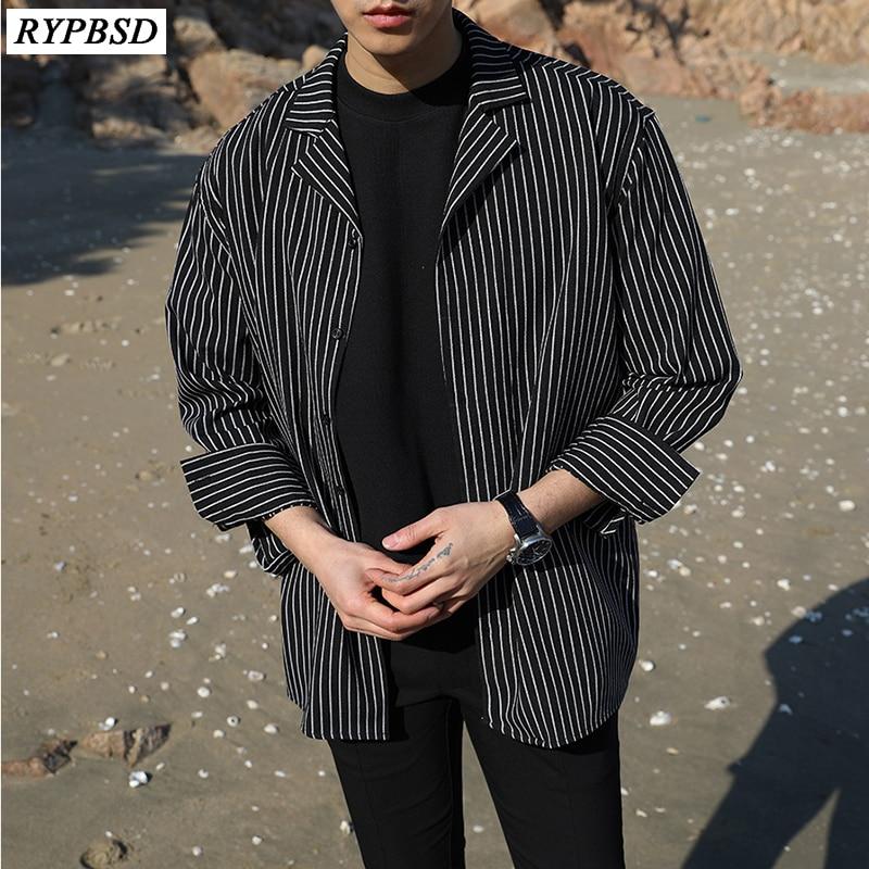Men Black Shirt Stripe 2019 Casual Fashion Cotton Printing Harajuku Men Shirt Loose Long Sleeve Korean Striped Shirt Men M-XXL