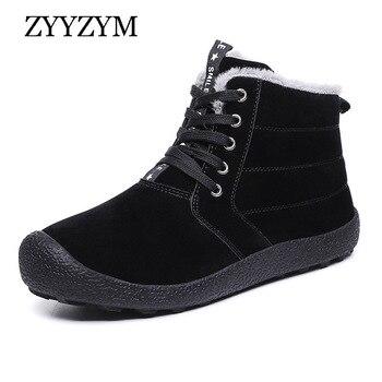 ZYYZYM Men Snow Boots Winter Plush Keep Warm Men Boots Fashion Outdoor Cotton Shoes Winter Shoes Large Size Zapatos De Hombre