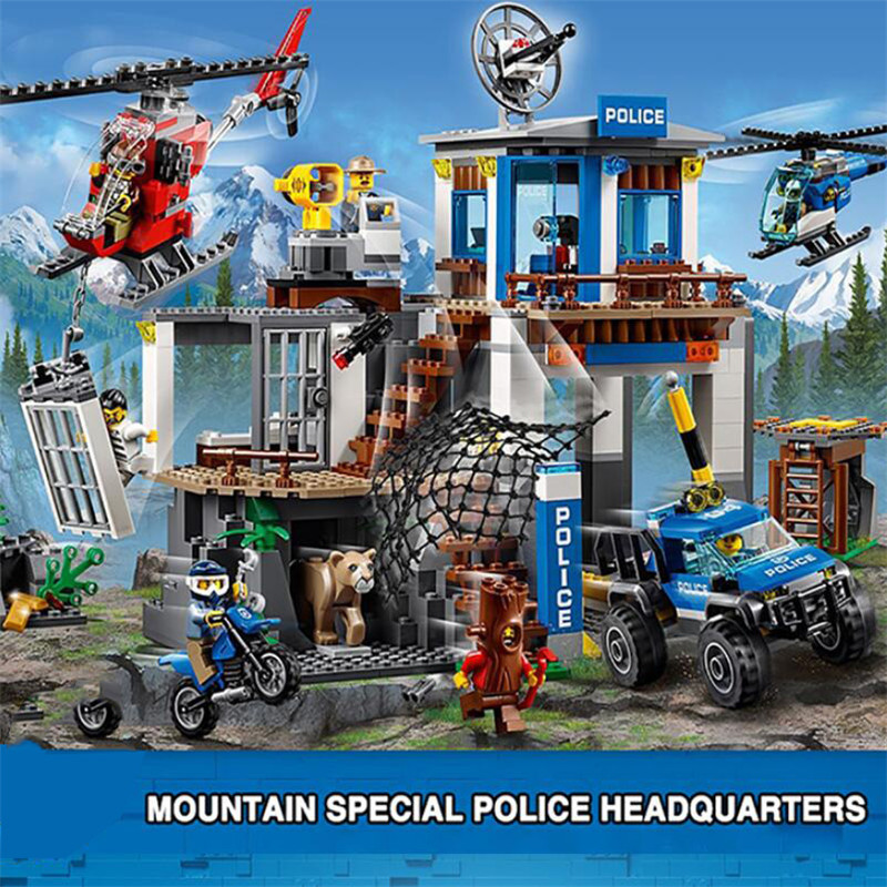 New City Series Mountain Police Headquarters Building Block Educational DIY Toy For Children Gift 60174