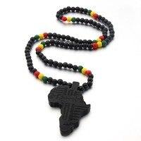 VOQ-collar con colgante de mapa de África para hombre y mujer, cadena de cuentas de madera, joyería de hip hop, novedad