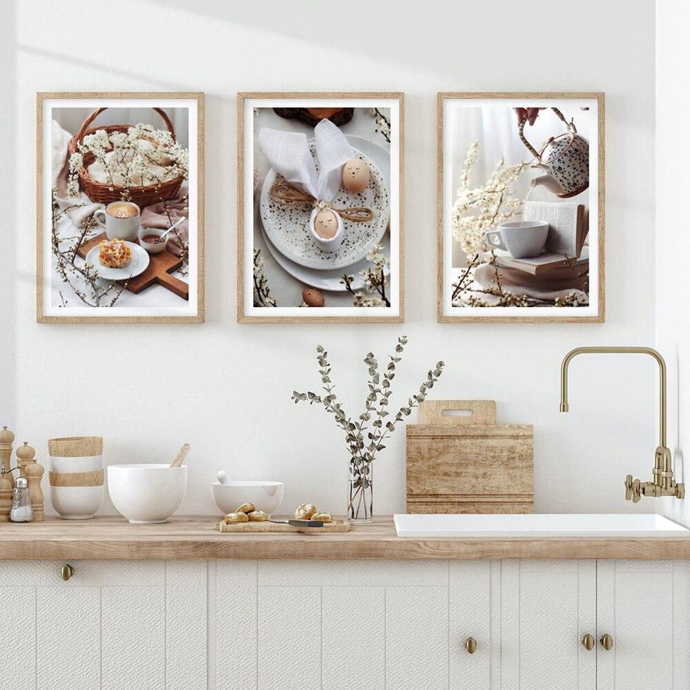 Картина на холсте с изображением чая, хлеба, яиц, еды, Современное украшение для дома, Настенная картина для кухни, Декор, скандинавские плакаты и принты, украшение